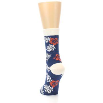 Image of Navy Tropical Flowers Women's Dress Socks (side-2-back-16)