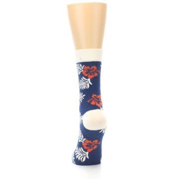 Image of Navy Tropical Flowers Women's Dress Socks (back-17)