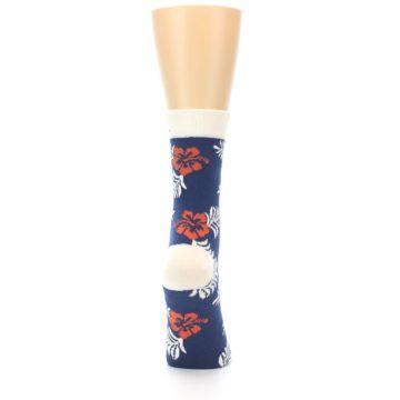 Image of Navy Tropical Flowers Women's Dress Socks (back-19)