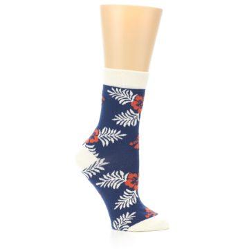 Image of Navy Tropical Flowers Women's Dress Socks (side-1-25)