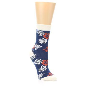 Image of Navy Tropical Flowers Women's Dress Socks (side-1-27)