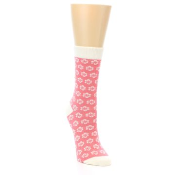 Image of Pink Flowers Women's Dress Socks (side-1-front-02)