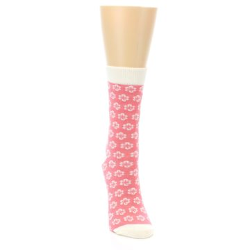 Image of Pink Flowers Women's Dress Socks (side-1-front-03)