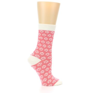 Image of Pink Flowers Women's Dress Socks (side-1-24)