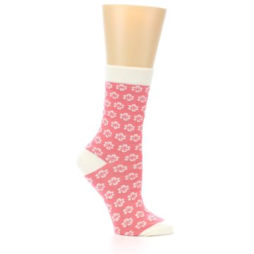 Image of Pink Flowers Women's Dress Socks (side-1-25)