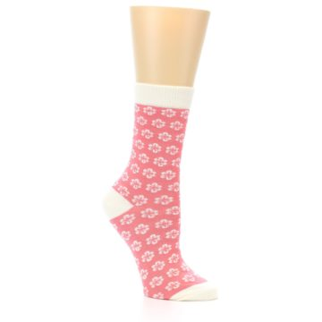 Image of Pink Flowers Women's Dress Socks (side-1-26)