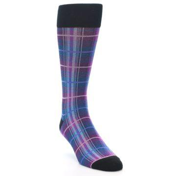Image of Black Purple Blue Plaid Men's Dress Sock (side-1-front-02)