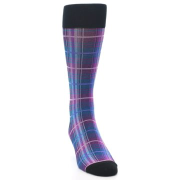 Image of Black Purple Blue Plaid Men's Dress Sock (side-1-front-03)