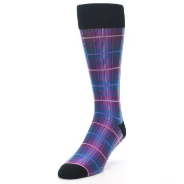 Image of Black Purple Blue Plaid Men's Dress Sock (side-2-front-07)