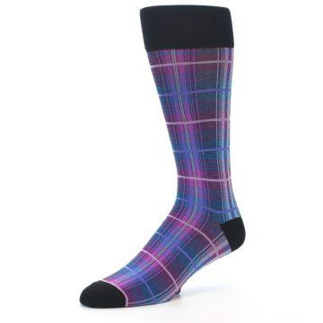 Image of Black Purple Blue Plaid Men's Dress Sock (side-2-09)