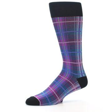 Image of Black Purple Blue Plaid Men's Dress Sock (side-2-10)