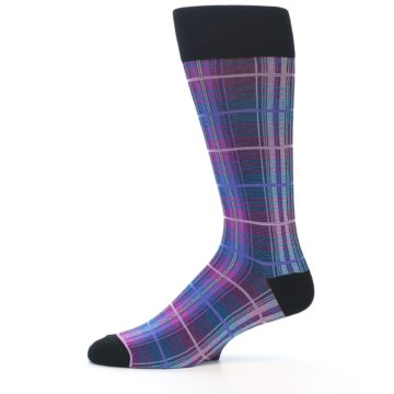 Image of Black Purple Blue Plaid Men's Dress Sock (side-2-11)