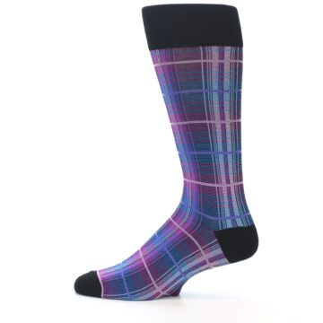 Image of Black Purple Blue Plaid Men's Dress Sock (side-2-12)