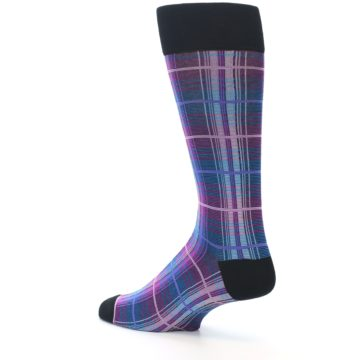 Image of Black Purple Blue Plaid Men's Dress Sock (side-2-back-14)