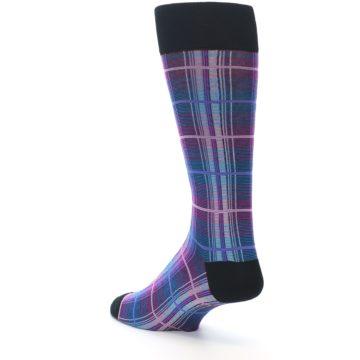 Image of Black Purple Blue Plaid Men's Dress Sock (side-2-back-15)
