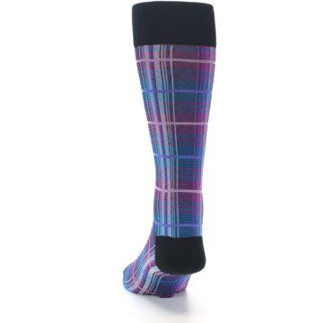 Image of Black Purple Blue Plaid Men's Dress Sock (back-17)