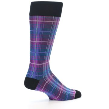 Image of Black Purple Blue Plaid Men's Dress Sock (side-1-23)