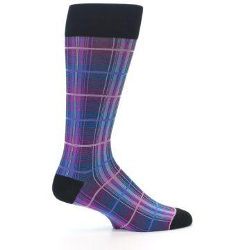 Image of Black Purple Blue Plaid Men's Dress Sock (side-1-24)