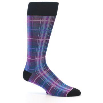 Image of Black Purple Blue Plaid Men's Dress Sock (side-1-25)