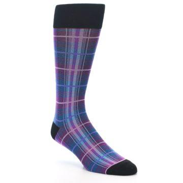 Image of Black Purple Blue Plaid Men's Dress Sock (side-1-27)