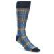 Image of Grey Blue Navy Plaid Men's Dress Sock (side-1-front-01)