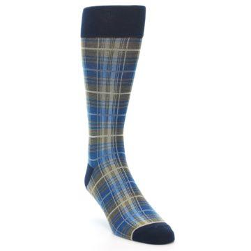 Image of Grey Blue Navy Plaid Men's Dress Sock (side-1-front-02)