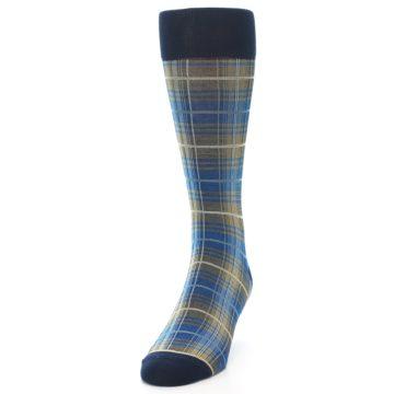 Image of Grey Blue Navy Plaid Men's Dress Sock (side-2-front-06)