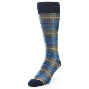 Image of Grey Blue Navy Plaid Men's Dress Sock (side-2-front-07)