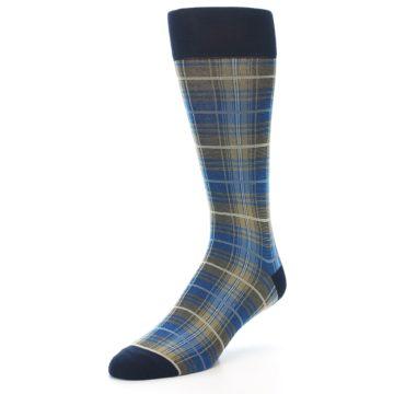 Image of Grey Blue Navy Plaid Men's Dress Sock (side-2-front-08)