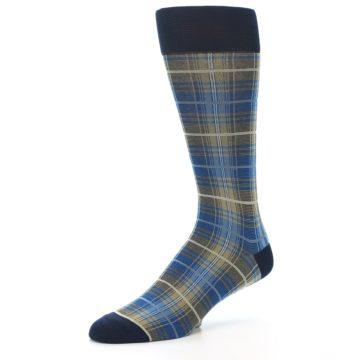 Image of Grey Blue Navy Plaid Men's Dress Sock (side-2-09)