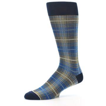 Image of Grey Blue Navy Plaid Men's Dress Sock (side-2-10)