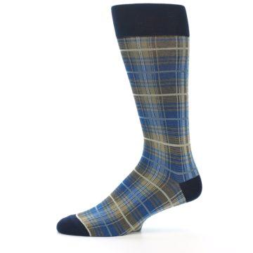 Image of Grey Blue Navy Plaid Men's Dress Sock (side-2-11)