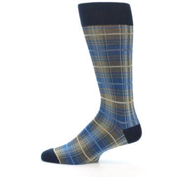Image of Grey Blue Navy Plaid Men's Dress Sock (side-2-12)