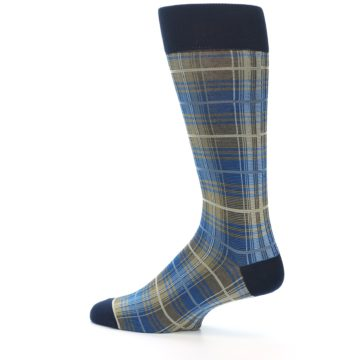 Image of Grey Blue Navy Plaid Men's Dress Sock (side-2-13)