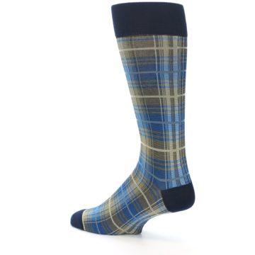 Image of Grey Blue Navy Plaid Men's Dress Sock (side-2-back-14)