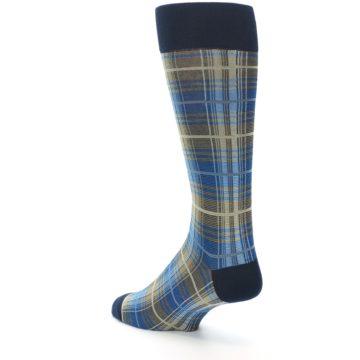 Image of Grey Blue Navy Plaid Men's Dress Sock (side-2-back-15)