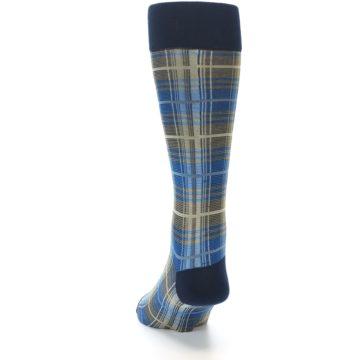 Image of Grey Blue Navy Plaid Men's Dress Sock (back-17)