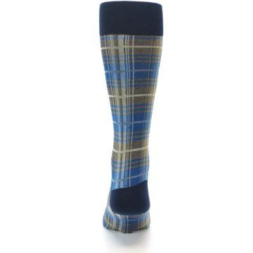 Image of Grey Blue Navy Plaid Men's Dress Sock (back-18)