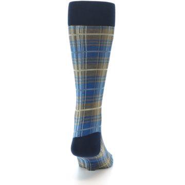 Image of Grey Blue Navy Plaid Men's Dress Sock (back-19)