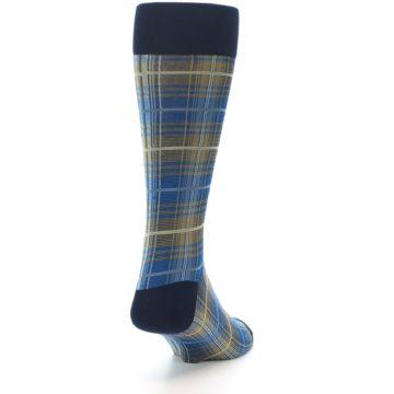 Image of Grey Blue Navy Plaid Men's Dress Sock (side-1-back-20)