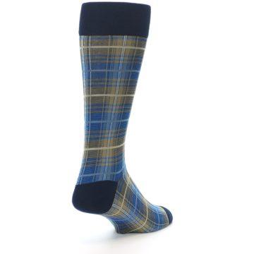 Image of Grey Blue Navy Plaid Men's Dress Sock (side-1-back-21)