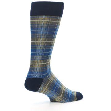 Image of Grey Blue Navy Plaid Men's Dress Sock (side-1-23)