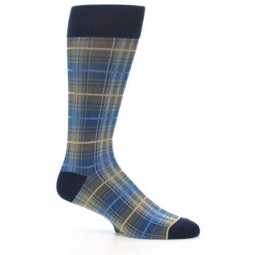 Image of Grey Blue Navy Plaid Men's Dress Sock (side-1-25)