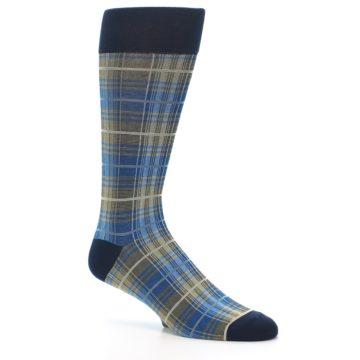 Image of Grey Blue Navy Plaid Men's Dress Sock (side-1-26)