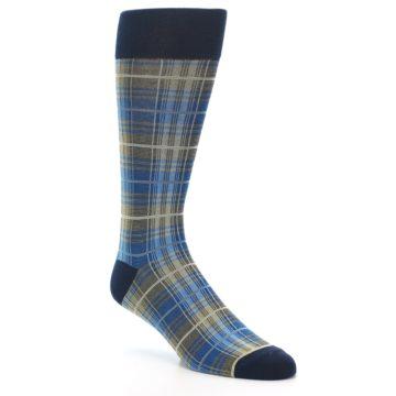 Image of Grey Blue Navy Plaid Men's Dress Sock (side-1-27)