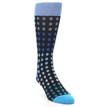 Image of Black Blues Polka Dot Men's Dress Sock (side-1-front-02)