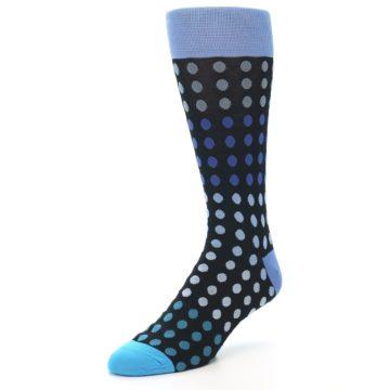 Image of Black Blues Polka Dot Men's Dress Sock (side-2-front-08)