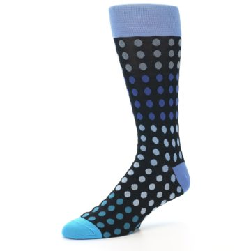 Image of Black Blues Polka Dot Men's Dress Sock (side-2-09)