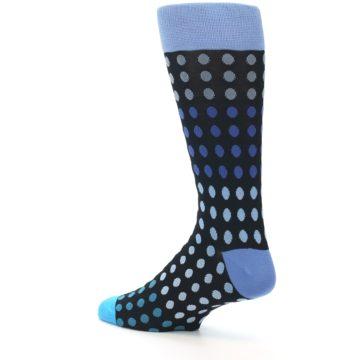 Image of Black Blues Polka Dot Men's Dress Sock (side-2-back-14)