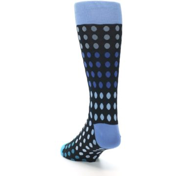 Image of Black Blues Polka Dot Men's Dress Sock (side-2-back-16)